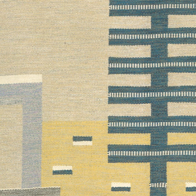 1960s Swedish Flat Weave Carpet by Agda Osterberg Rug- 8′11″ × 12′1″ For Sale - Image 5 of 6