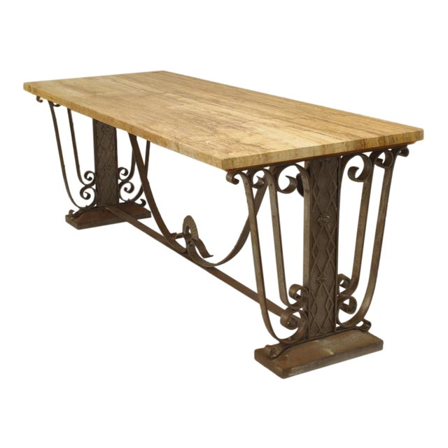 French Art Deco Large Rectangular Iron Scroll Side Center Table For Sale