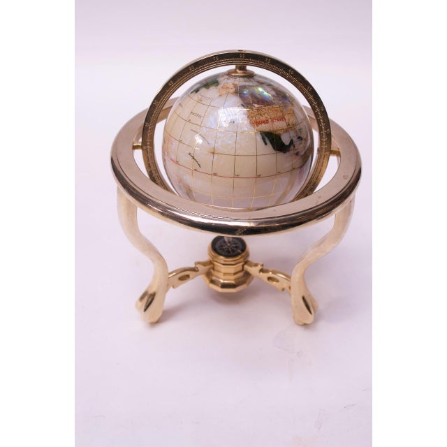 Contemporary Petite Desk Globe in Brass, Gemstones, and Mother of Pearl For Sale - Image 4 of 13