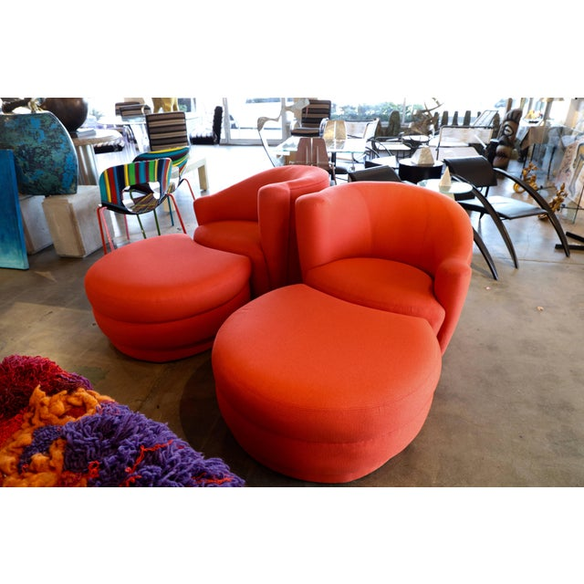 Vladimir Kagan for Weiman Chairs With Large Ottomans With Labels- A Pair For Sale - Image 12 of 12