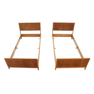 Vintage Mid Century Walnut Gibbings Twin Beds- a Pair For Sale