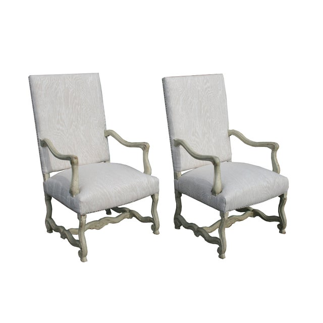 Textile Louis XV Painted Library Chairs From France, Newly Recovered in Faux Bois Linen, Sold as a Pair For Sale - Image 7 of 7