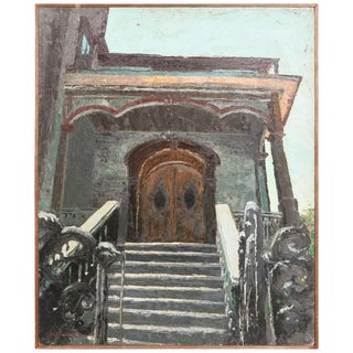 1957 Signed House Oil on Board Painting by Roger Hayward For Sale