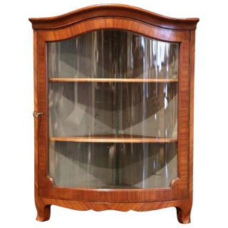Early 20th Century Louis XV Walnut Veneer Hanging Corner Cabinet With Glass Door For Sale