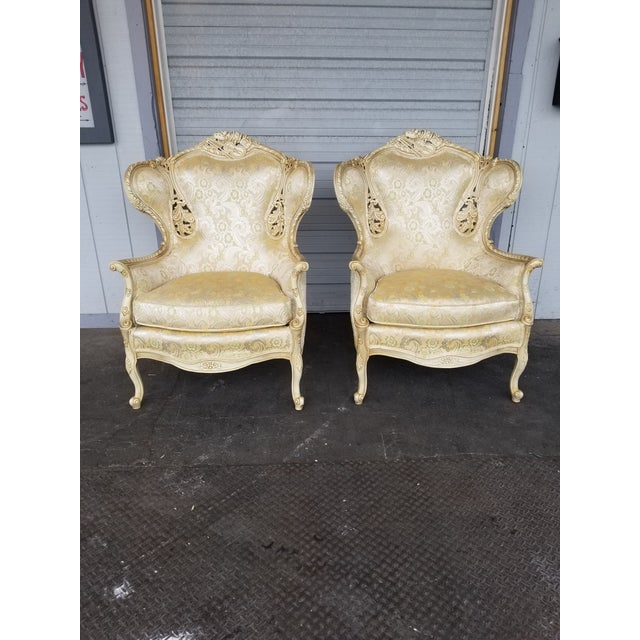 Vintage Victorian White Bergere Chairs - a Pair - Image 5 of 5