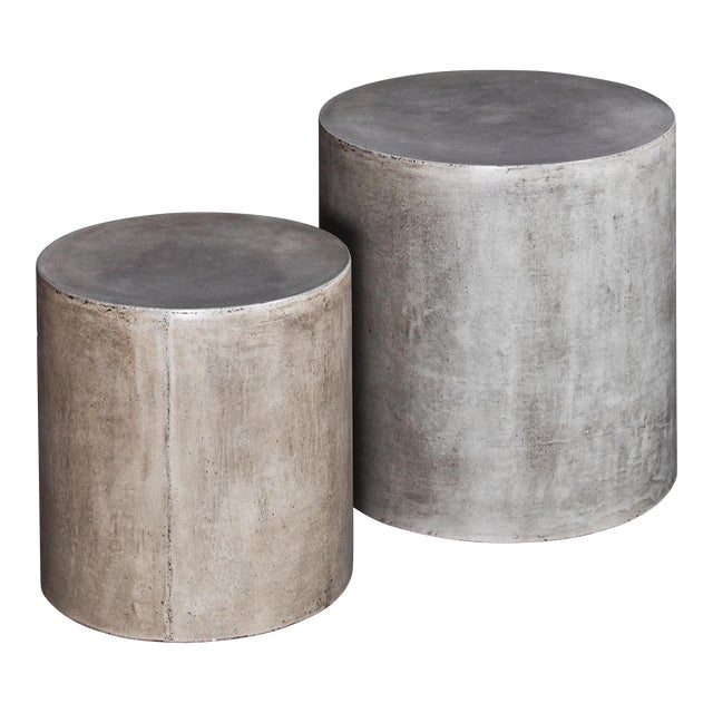 Una Pedestal Side Tables in Natural Gray - a Pair For Sale
