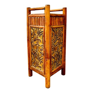 Bamboo Umbrella Stand Rattan Cane or Walking Stick Holder For Sale