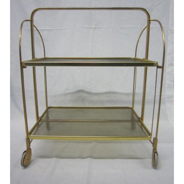 Gold Tone Folding Bar Cart - Image 4 of 5