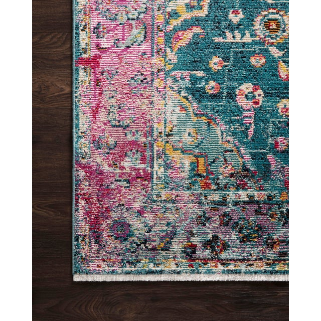 "Transitional Loloi Rugs Silvia Rug, Teal / Berry - 6'x8'8"" For Sale - Image 3 of 4"