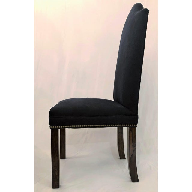 Traditional Set of 12 Mahogany and Dark Blue Upholstered Dining Chairs. For Sale - Image 3 of 4