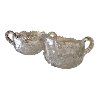 """1906 Eapg """"Sextec"""" Pres-Cut Cream and Sugar Bowl Set by McKee Glass - Set of 2 For Sale"""