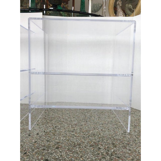 Transparent Floor Sample Lucite Nightstands Beveled Top Edges the Pair - Night Stands For Sale - Image 8 of 10