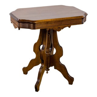 19th Century Victorian Eastlake Style Oak Parlor Table For Sale
