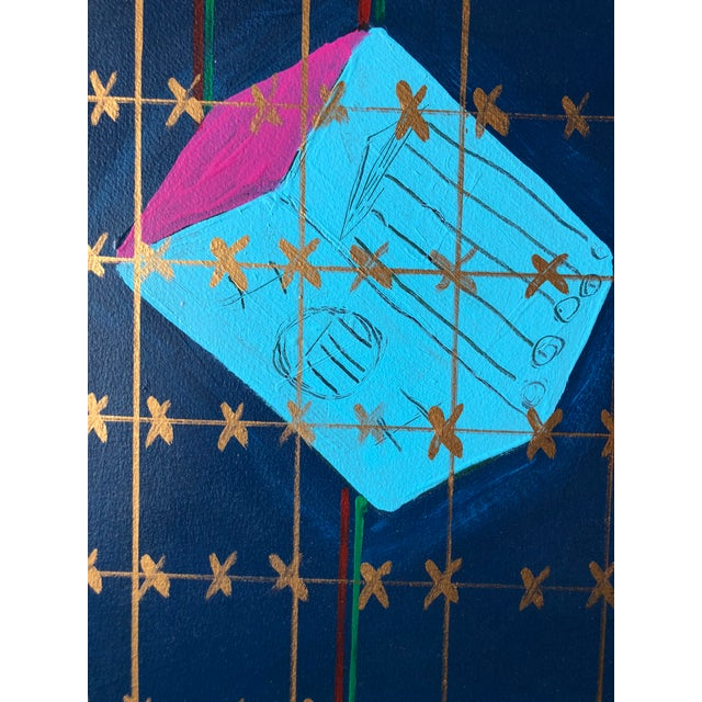 "Frances Shifflette Hicks Frances Schifflette Hicks Abstract ""Floating Cubes"" 1980s San Francisco Women Artists For Sale - Image 4 of 8"