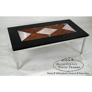 Mid Century Modern Chrome Base Coffee Table W/ Geometric Colored Marble Top Preview