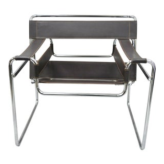 Vintage Marcel Breuer Wassily Style Brown Leather Sling Chrome Lounge Chair For Sale
