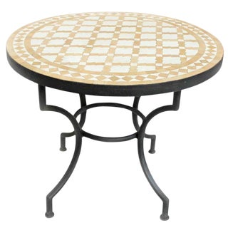 Round Mosaic Tile Side Table For Sale