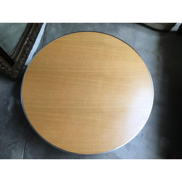 Circular Modern Stainless Steel and Oak Coffee Table For Sale - Image 9 of 11