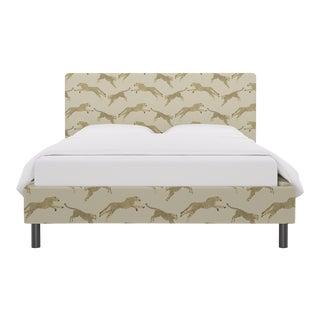 Queen Tailored Platform Bed in Desert Cheetah By Scalamandre For Sale