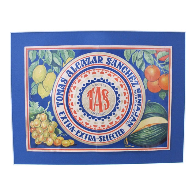 1920's Original Spanish Art Deco Vegetable Crate Label - Tas - Tomas Alcazar Sanchez From Murcia Spain For Sale