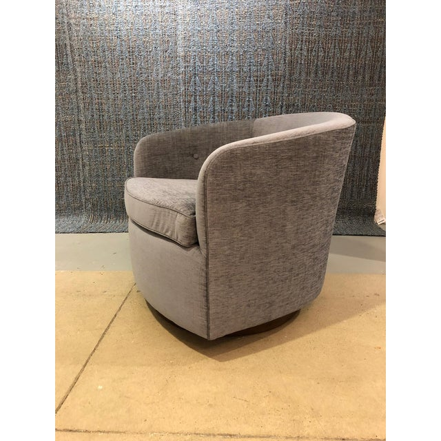 2010s Mid-Century Modern Swivel Lounge Chairs on Walnut Bases - a Pair For Sale - Image 5 of 7