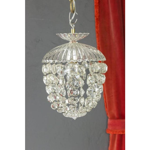 1940s French Crystal and Glass Pendant Ceiling Fixture - Image 2 of 11