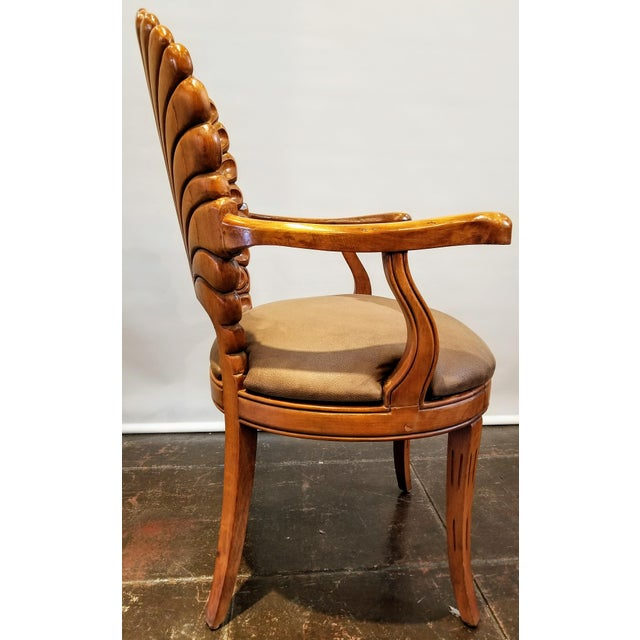 Italian 1960s Vintage Italian Venetian Carved Wood Shell Back Grotto Armchair For Sale - Image 3 of 10