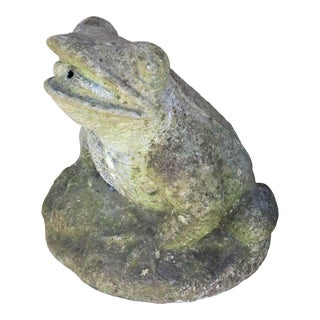 Very Large Mid 20th Century English Cast Stone Frog Fountain Head For Sale
