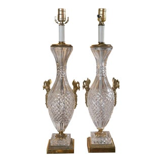 Baccarat Crystal and Gilt Bronze Lamps - a Pair For Sale
