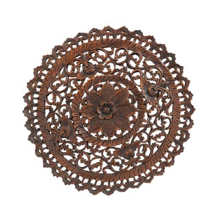 "Dark Wax Carved Medallion Panel 24"" For Sale"