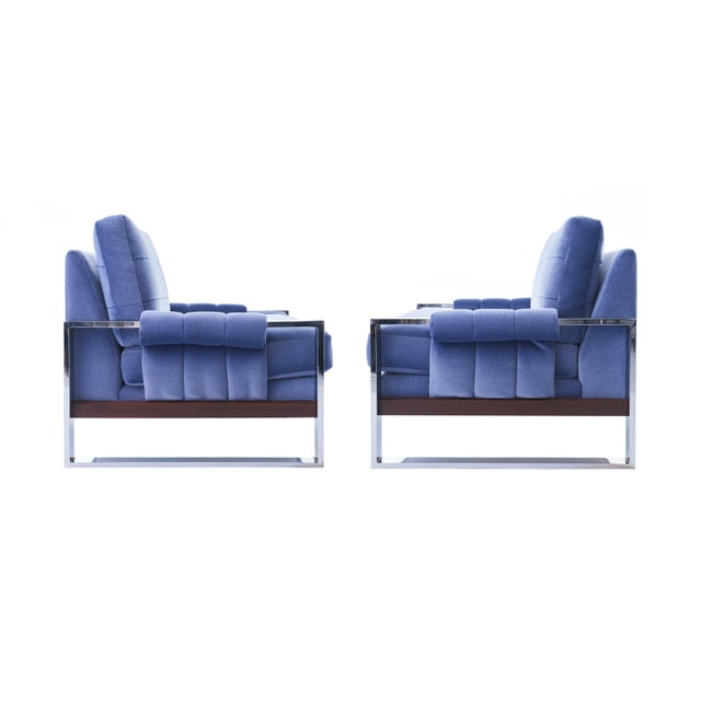 Adrian Pearsall for Craft Associates Mohair, Wood & Chrome Lounge Chair - a Pair For Sale - Image 9 of 9