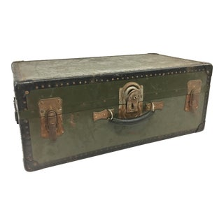Vintage Industrial Military Foot Locker Trunk For Sale