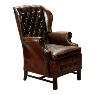 English Brown Leather Tufted Library Chair For Sale