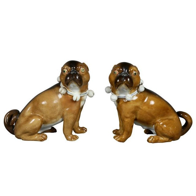 Pair of German Porcelain Figures of Seated Pugs For Sale - Image 9 of 9