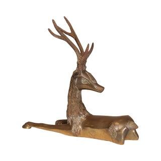 Sarreid Vintage Brass Seated Deer Statue (A) For Sale