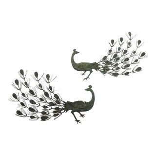 1960s Metal Work Wall Mount Peacocks - a Pair For Sale
