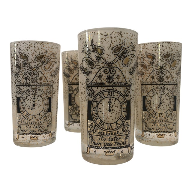 """Georges Briard """"It's Later Than You Think"""" 22k Glasses - Set of Four For Sale"""