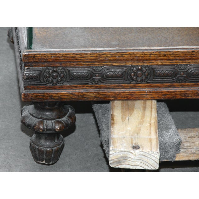 Rustic Large Showcase With Carved Wood Details For Sale - Image 3 of 7