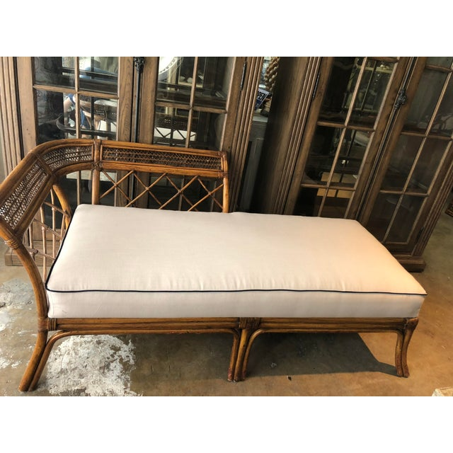 Bamboo & Linen Chaise For Sale - Image 4 of 10