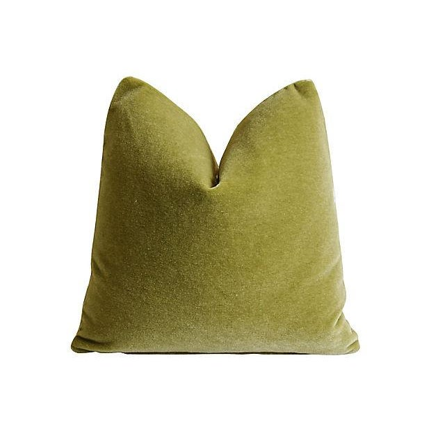 "Green Designer Lee Jofa Paisley & Mohair Feather/Down Pillows 21"" Square - Pair For Sale - Image 8 of 14"