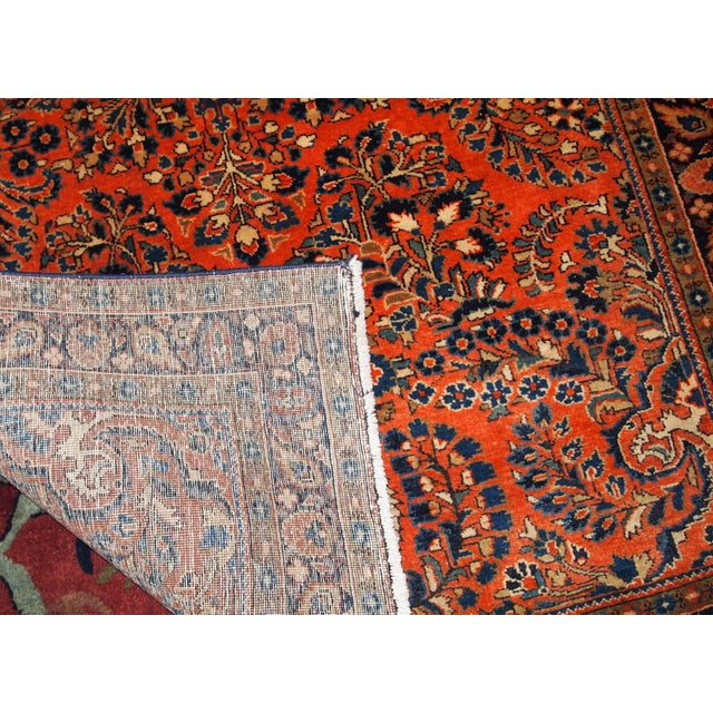 Blue 1920s, Handmade Antique Persian Sarouk Rug For Sale - Image 8 of 13
