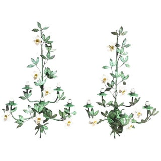 Pair of Large Italian Polychromed Tole Floral Five-Light Sconces For Sale