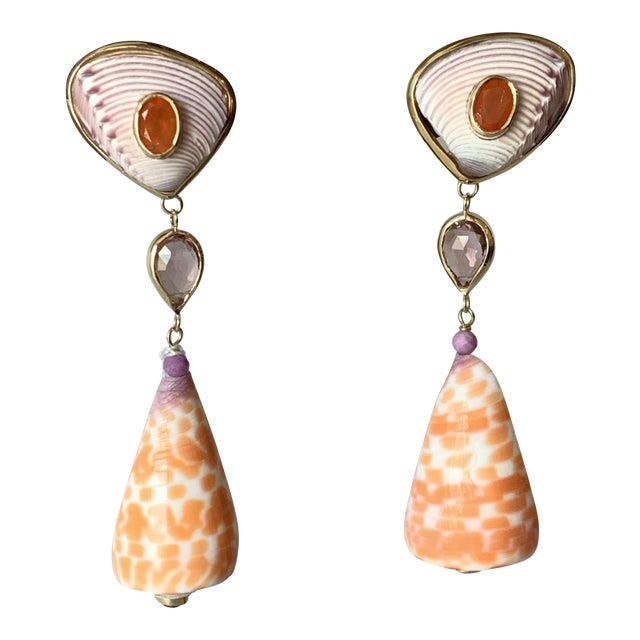 Seashell and Gemstone Earrings For Sale