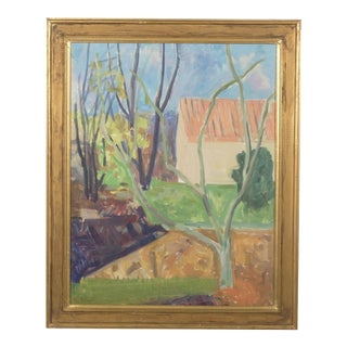 Sparse Tree in the Garden, Spring Landscape by Per Iverson 1957 For Sale