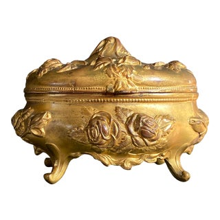 Art Nouveau Floral Footed Jewelry Casket Box For Sale