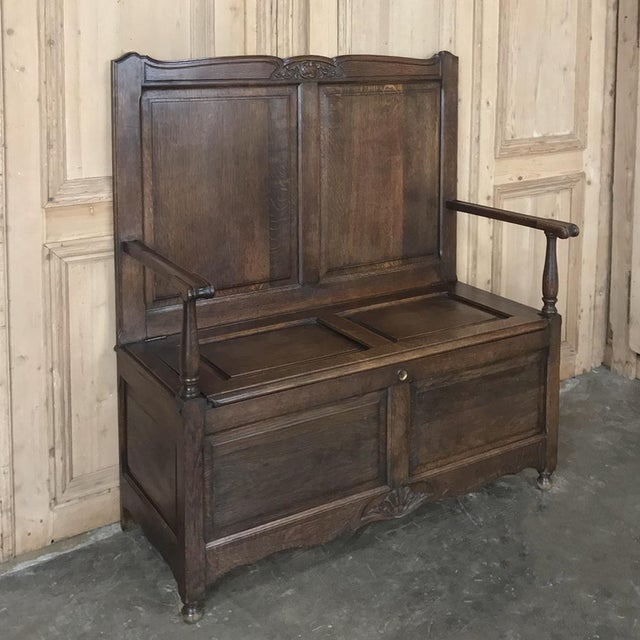 Country Antique Country French Provincial Hall Bench For Sale - Image 3 of 12