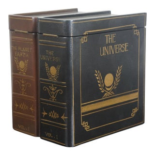 Vintage Maitland Smith Painted Leather False Book Box the Planet Earth & Universe Set For Sale