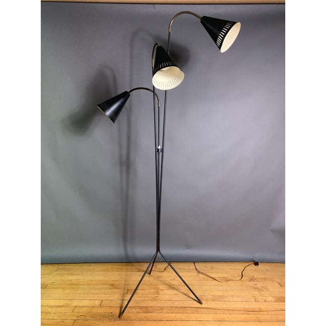 Danish 1960s Lacquered Metal & Brass 3-Cone Floor Lamp For Sale - Image 10 of 10