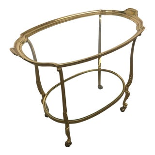 Vintage Hollywood Regency Brass Two Tiered Bar Tea Cart
