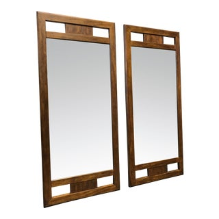 DREXEL HERITAGE Woodbriar Pecan Campaign Style Mirrors - Pair For Sale